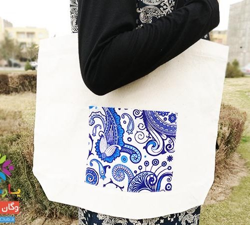 کیسه پارچه ای بزرگ دسته چرمی (مصنوعی)